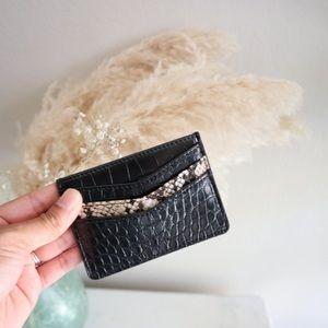Snakeskin embossed cardholder wallet